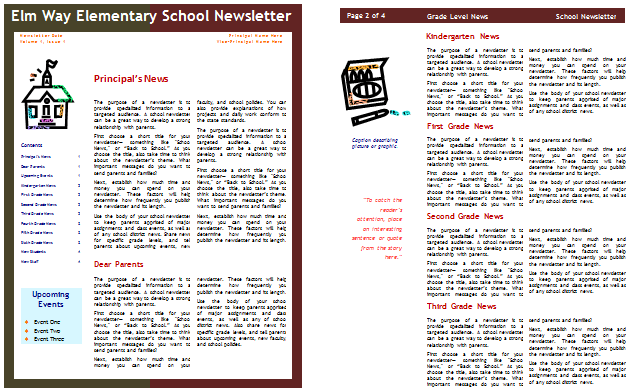 free school and classroom newsletter template