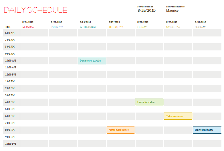daily schedule excel template