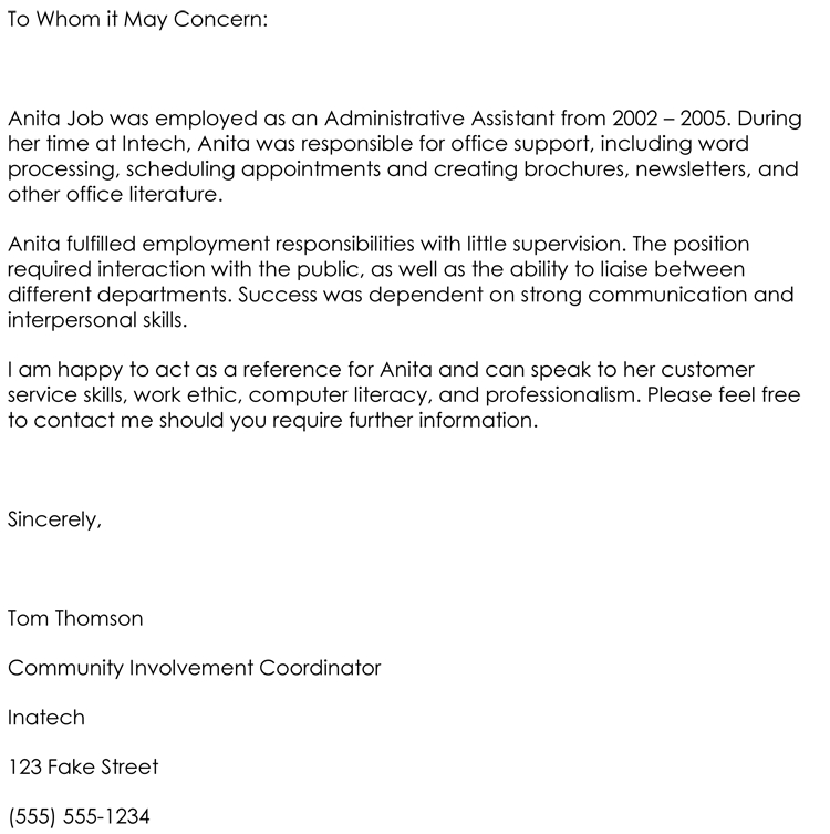 Employee Letter Of Recommendation Template