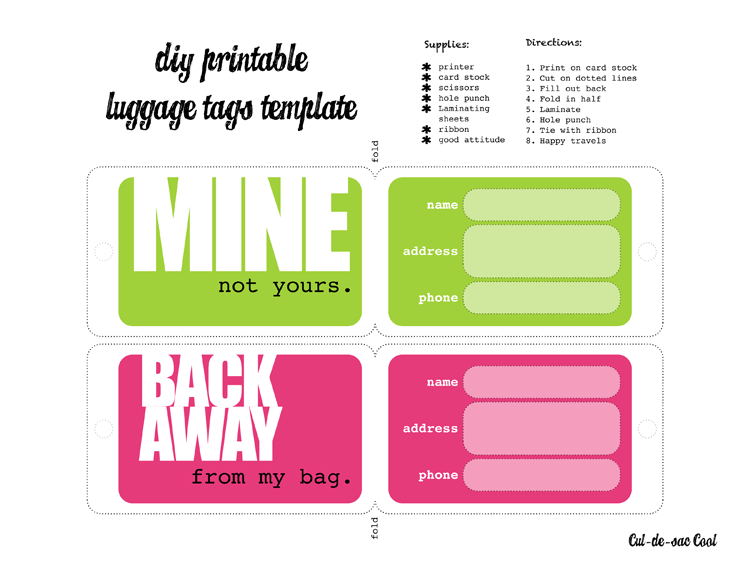 Free Luggage Tag Templates for Microsoft® Word