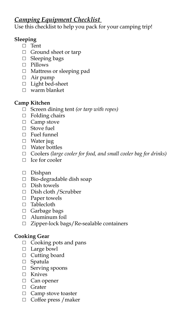 Camping Equipment Checklist