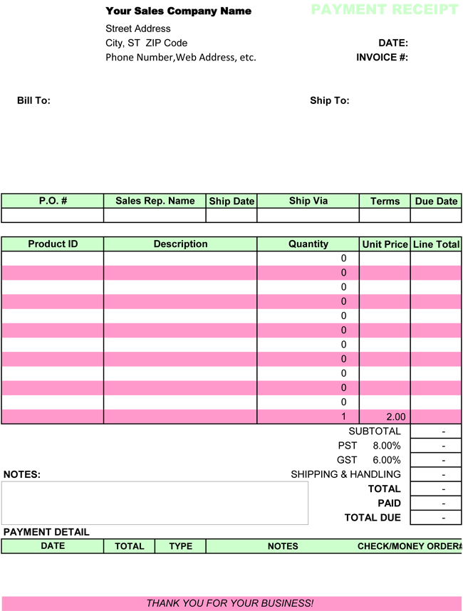 excel receipt template