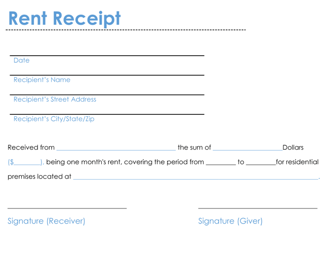 6 Rent Receipt Templates to Create Rent Receipt of any Type – Rental Receipt Template Word
