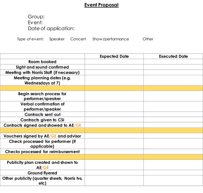 Event Management Progress Checklist Template