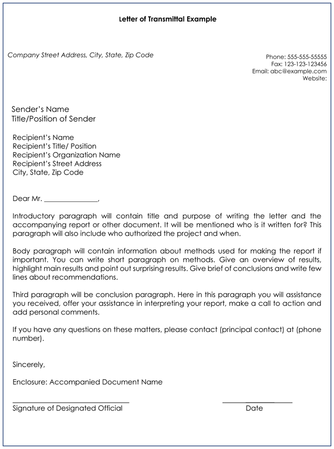 Captivating Transmittal Letter Template And Letter Of Transmittal Example