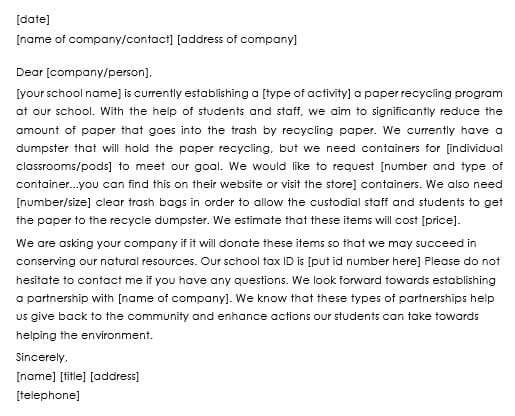 Sample Donation Request Letter For School  CityEsporaCo