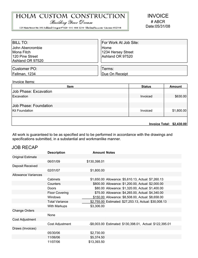Free Construction Invoice Templates with Estimate Calculation