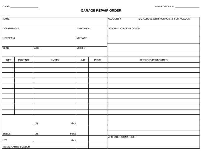 automotive repair invoices