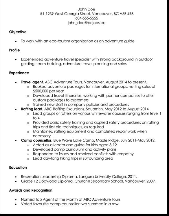 travel job resume template 7 samples for travel related job cv