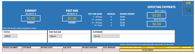Invoice Tracker with Total dashboard
