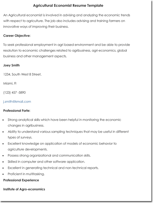 Agricultural Economist Resume Example