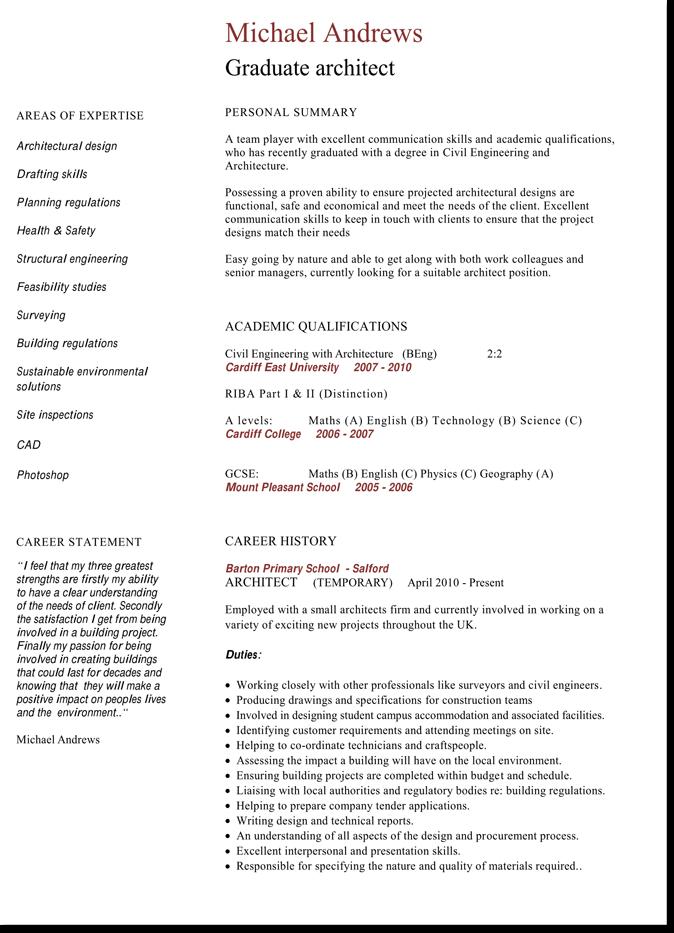 Graduate Architect CV Template