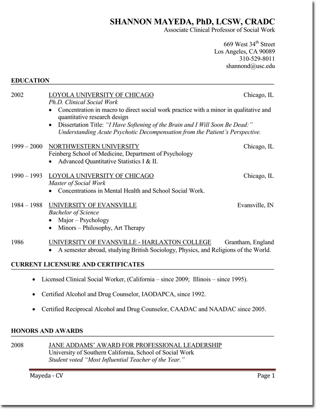 Newly Qualified Social Worker CV