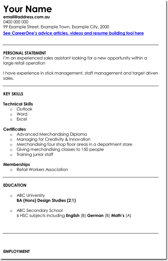 Retail Sales Assistant CV Template