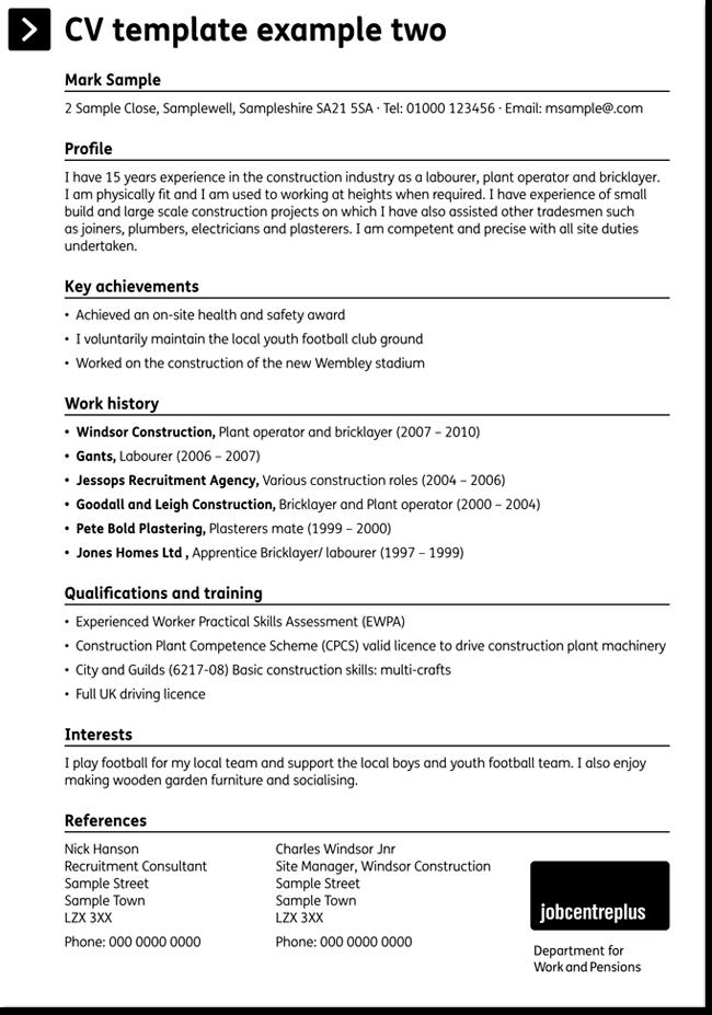 Construction CV Sample