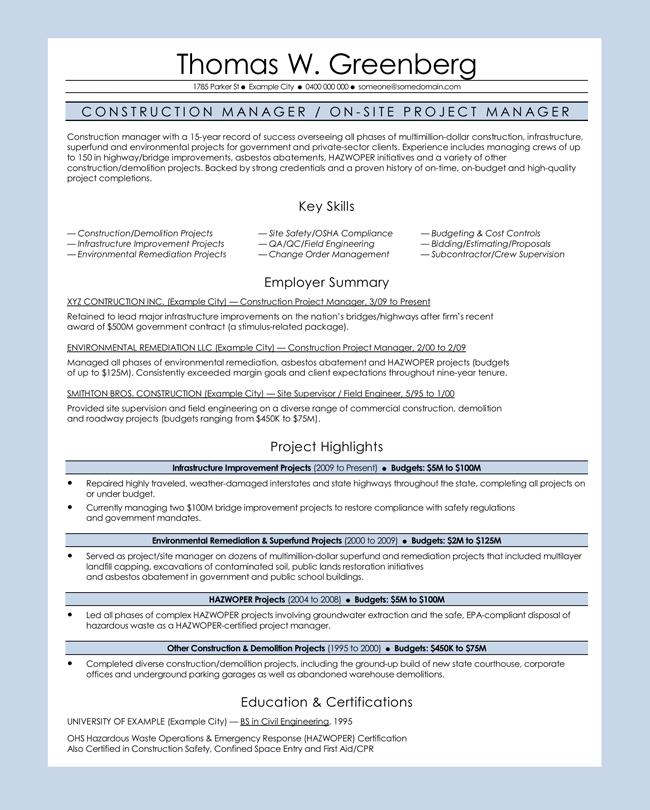 Construction Manager CV Sample