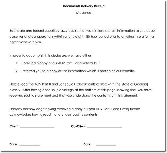 Documents Delivery Receipt Templates