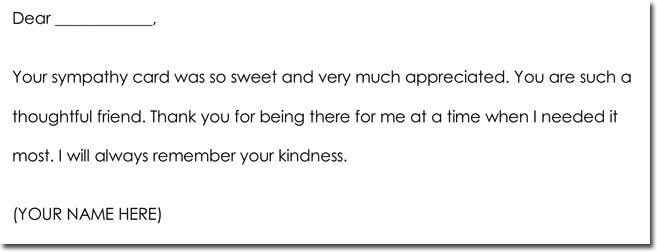 Bereavement Thank You Letter Wording