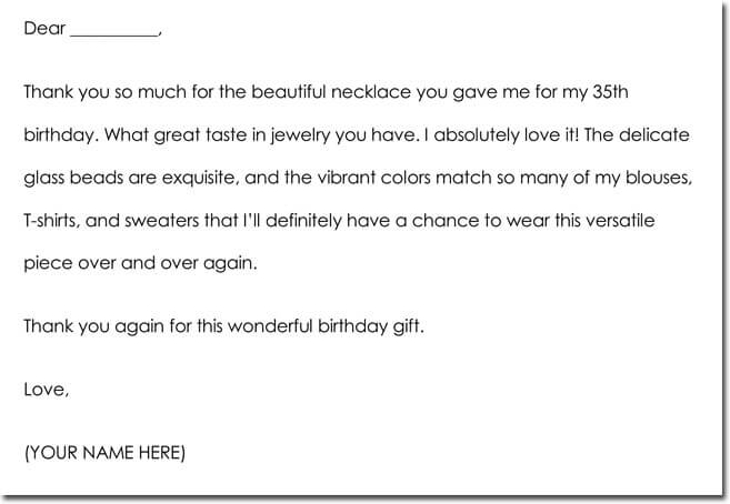 Birthday Gift Thank You Note Example