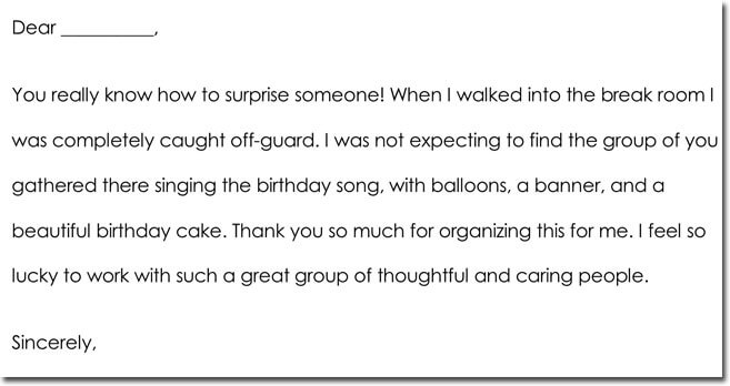 Birthday Thank You Note Format