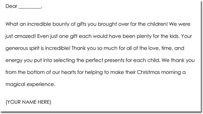 Christmas Gift Thanks Note Example