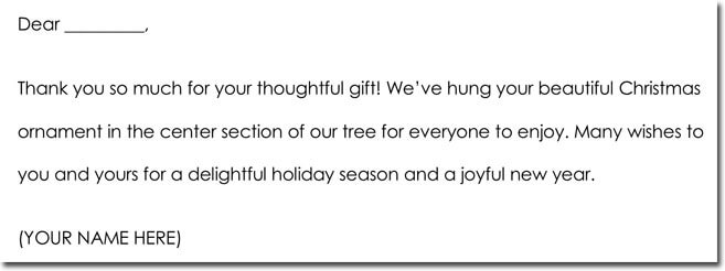 Christmas Thank You Note Example
