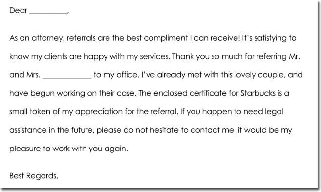 Client Referral Thank You Note Wording