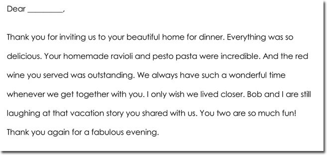 Dinner thank you letter template