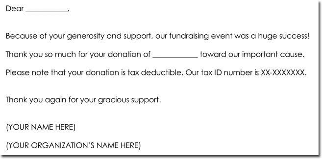 Donation Thank You Letter Format