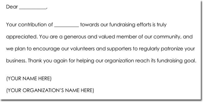 Donation Thank You Note Wording Sample
