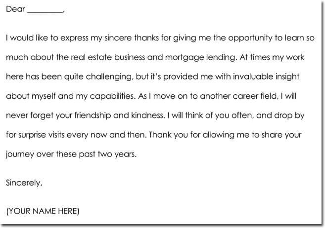 Employee Farewell Thank You Card Wording Example
