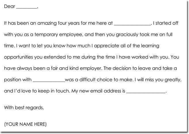 Employee Farewell Thank You Note Example