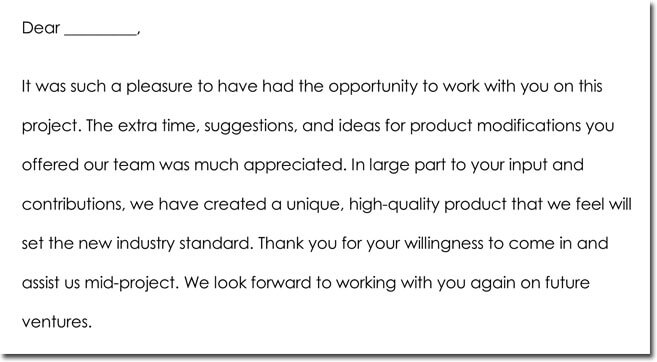 Employee Thank You Letter Wording Example