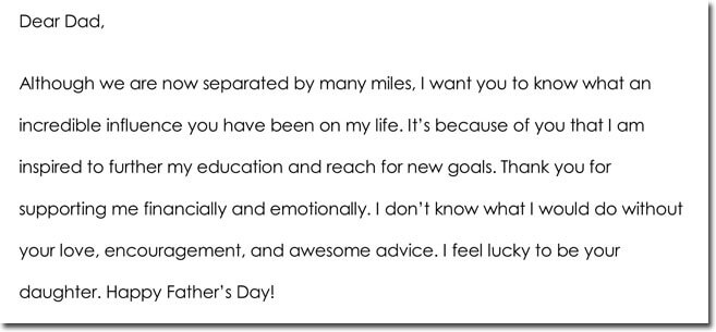 Father's Day Thank You Note Wording Idea