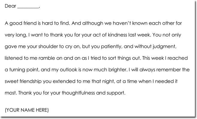 Friendship Thank You Note Sample Wording