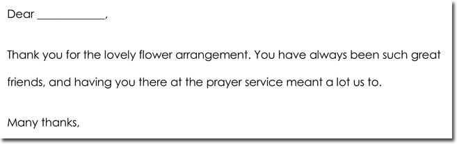 Sample Bereavement Thank You Notes