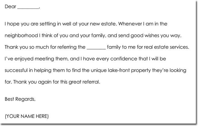 Sample Business Referral Thank You Notes