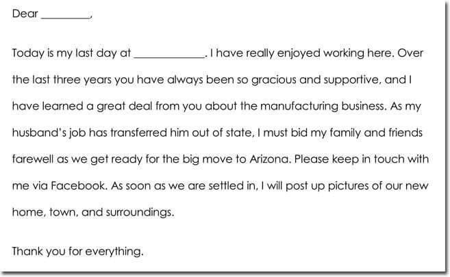 Sample Employee Farewell Thank You Notes