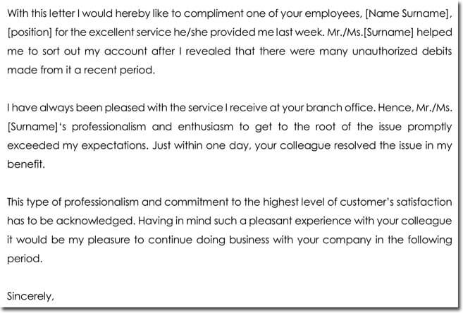 Acknowledgement Letter for A Great Customer Service