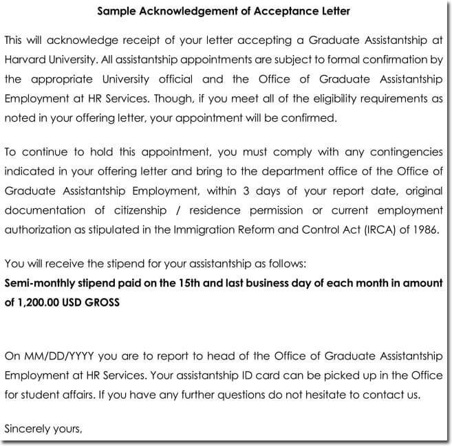 Acknowledgement of Acceptance Letter Template