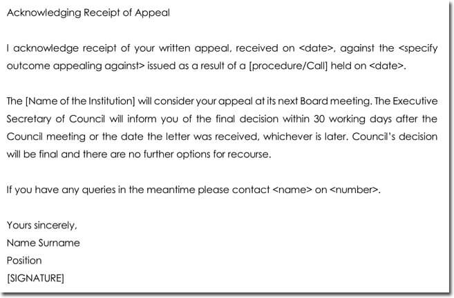 Acknowledgement of Appeal Letter Template