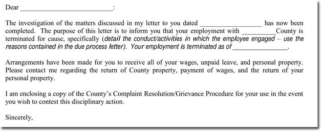 termination of employment letter example