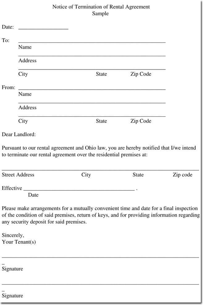 Sample Rental Termination Letters