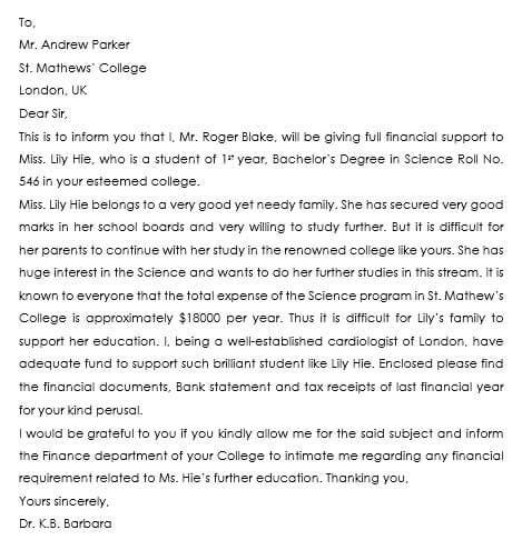 Sample letter of financial support