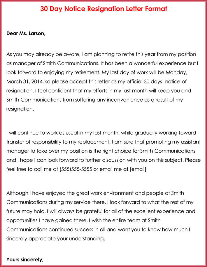 30 Day Notice Resignation Letter Format