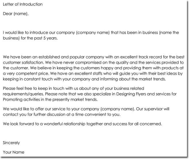 Company Letter of Introduction Format