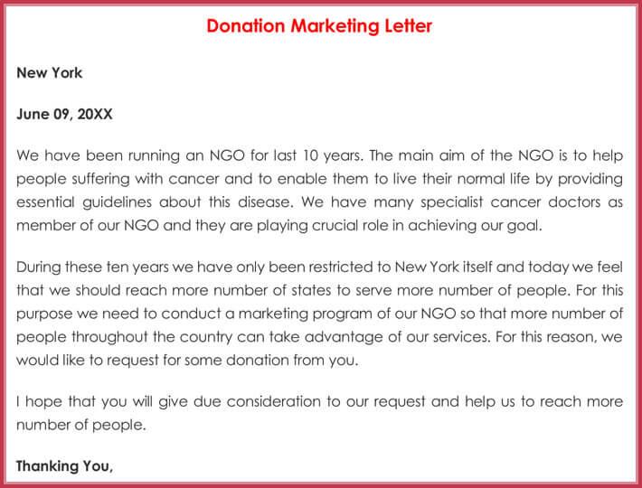 Donation Marketing Letter