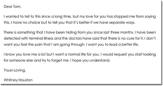 Emotional Break up Letter Sample