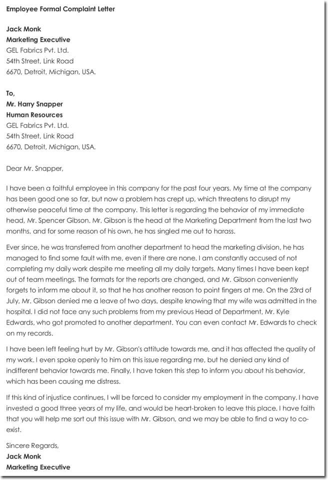 Employee Complaint Letter Template