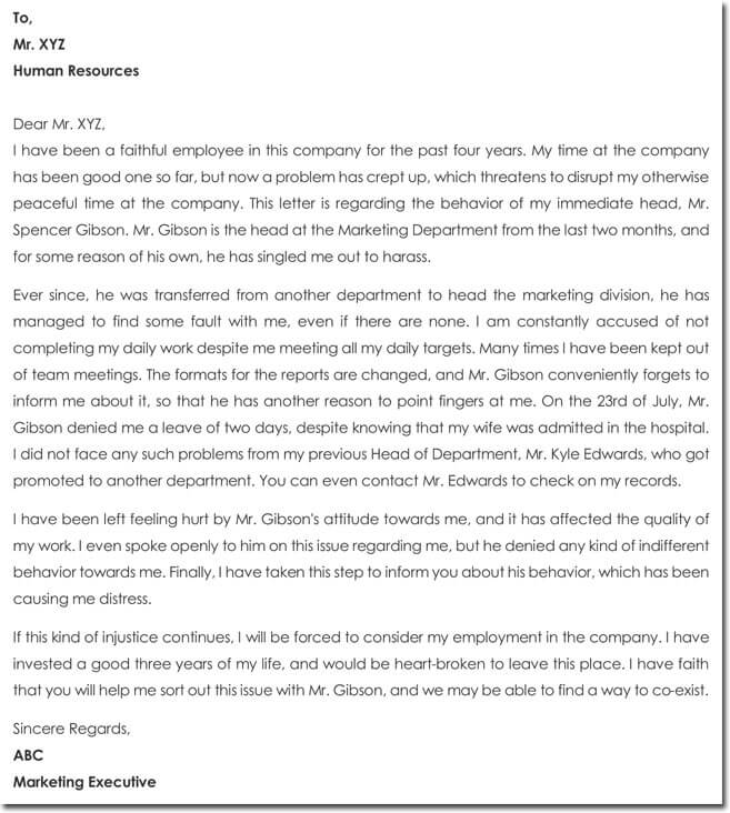 Employee Complaint Letter to HR about another Employee's behavior.